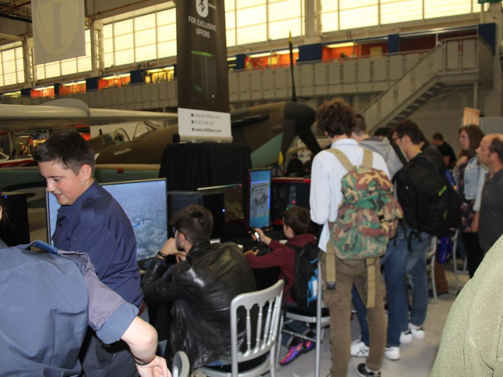 Visitors trying out flight sim on Chillblast PCs