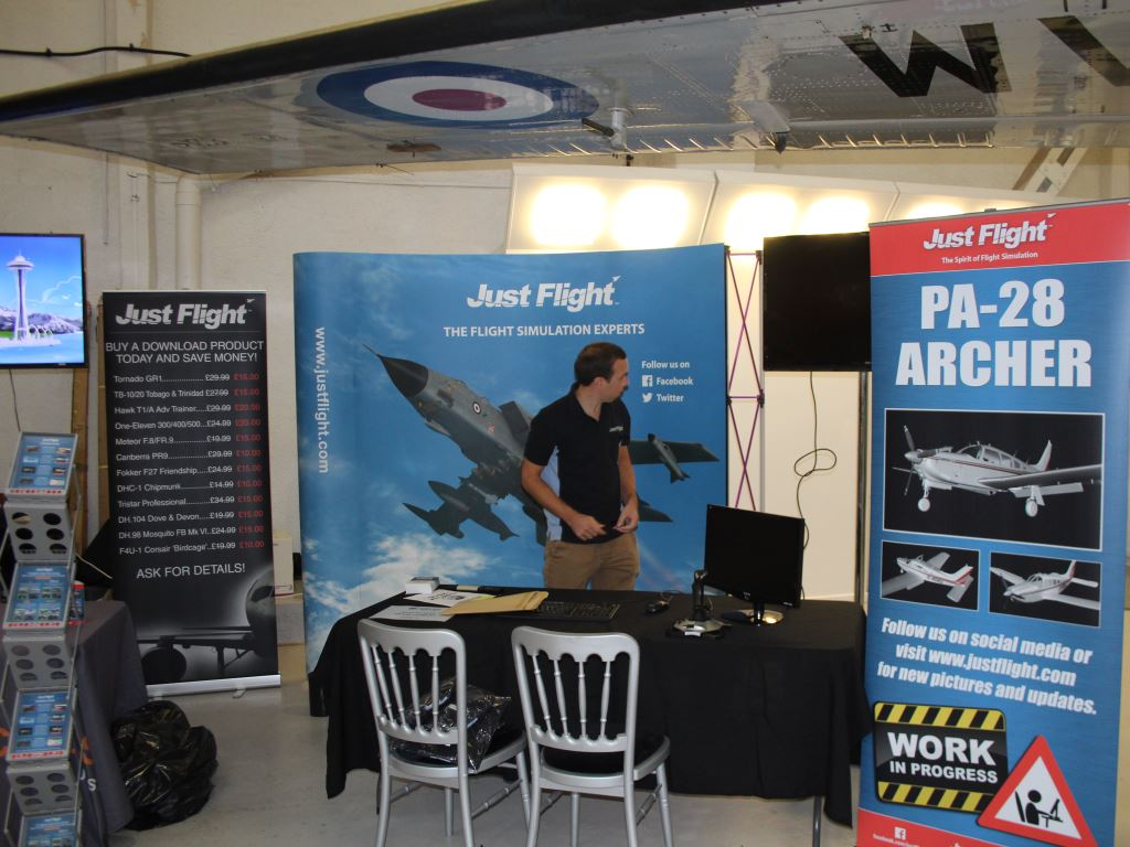 The Just Flight stand in the process of getting ready for visitors