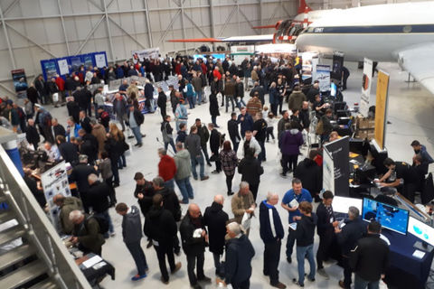 Another aerial shot of the busy main exhibition area